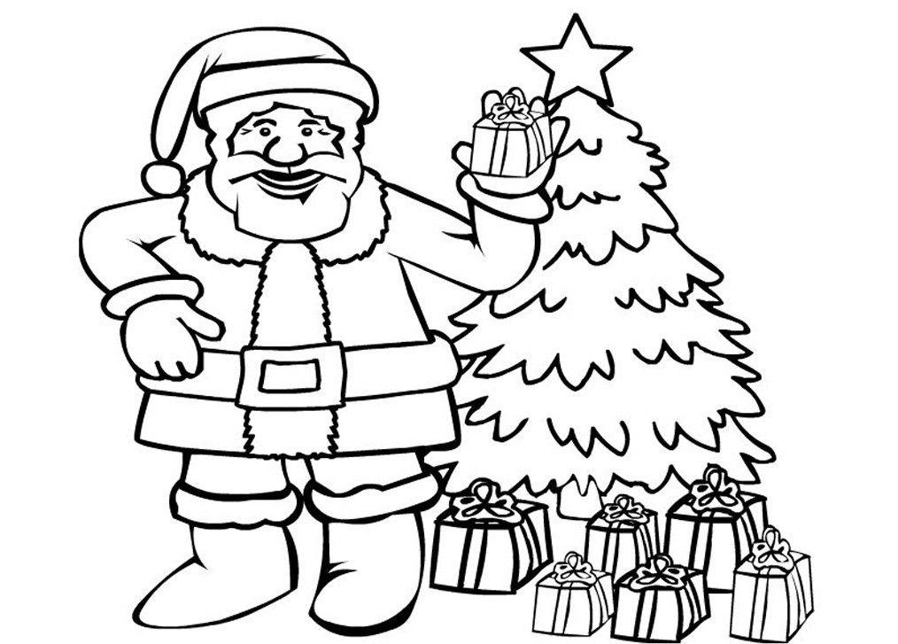 Дед Мороз у Елки с подарками | Рождественские раскраски ...