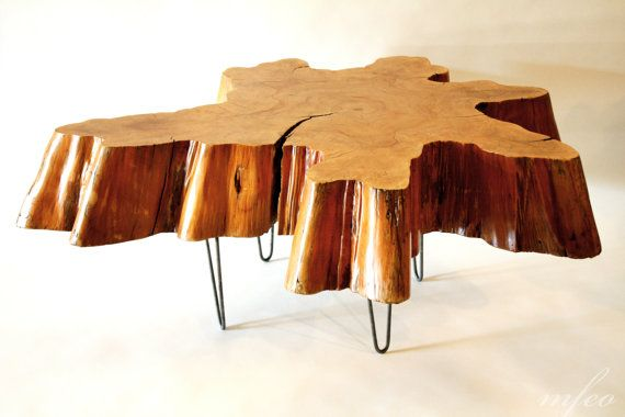 reclaimed tree stump coffee table on vintage hairpin legs | wood