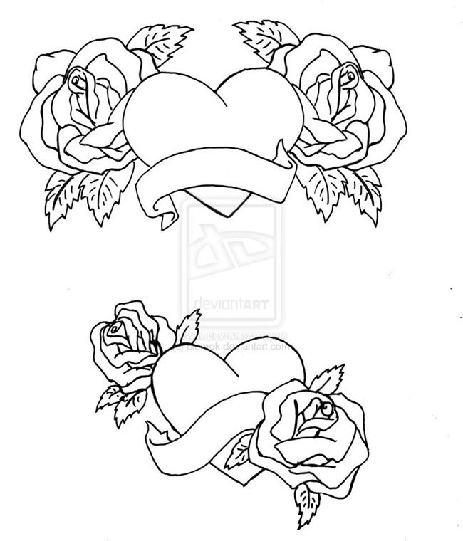 Hearts And Roses Coloring Pages Heart Coloring Pages Rose Coloring Pages Skull Coloring Pages