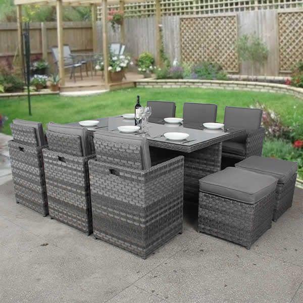 6 Seater Grey Cube Rattan Furniture Set, Grey Rattan Garden Furniture Sets