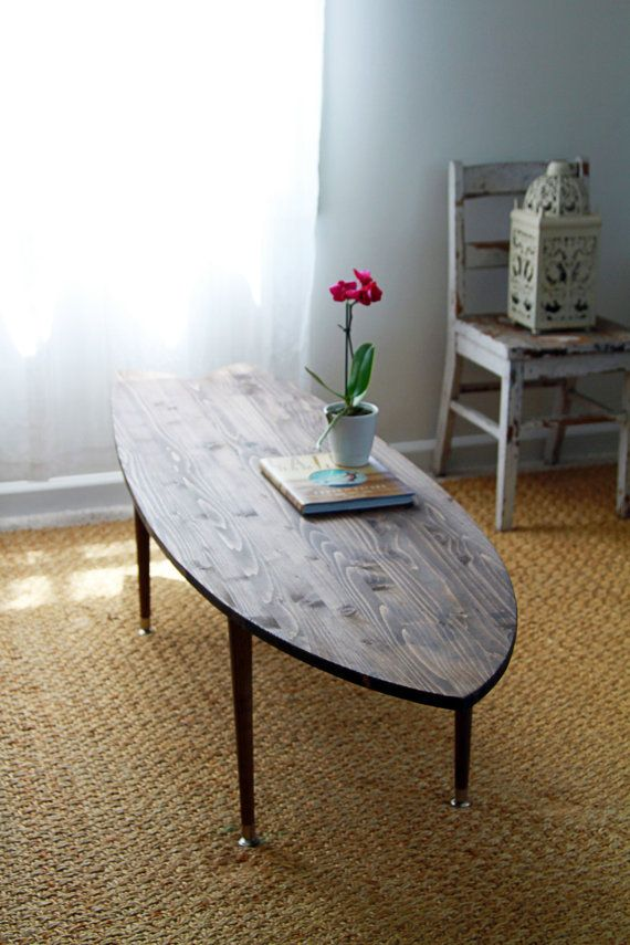 items similar to surfboard coffee table handcrafted wood surf art rh pinterest com