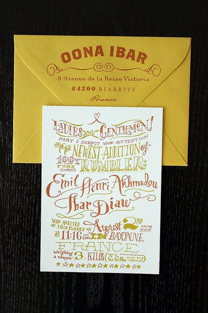 Hand-drawn and letterpressed birth announcements