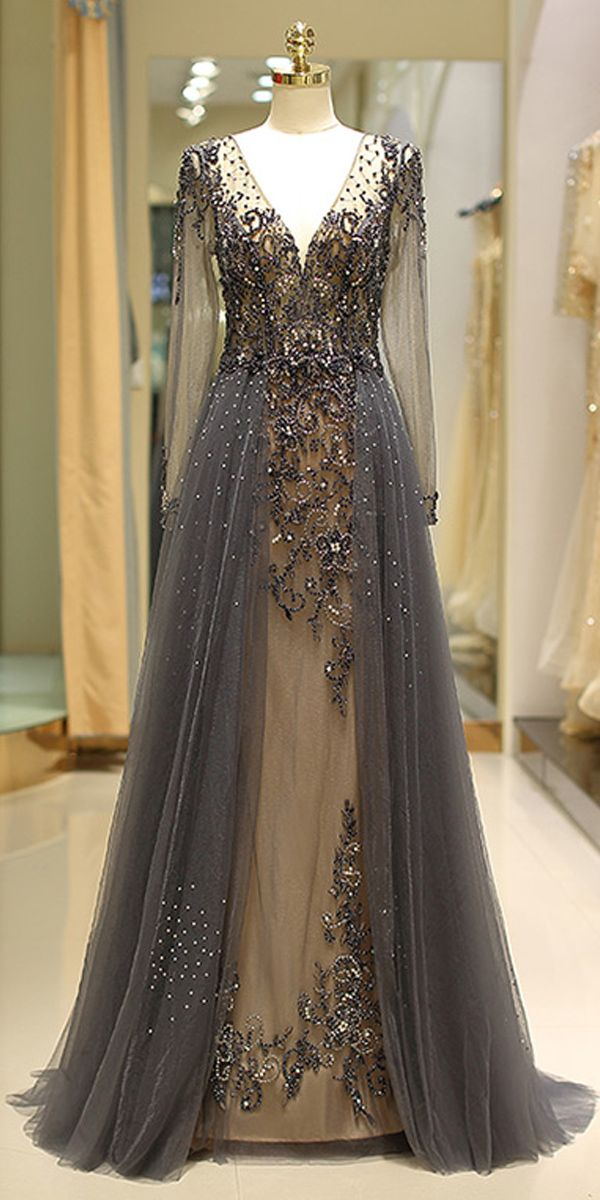 [258.50] Winsome Tulle V-neck Neckline Floor-length A-line Evening Dress With Beadings