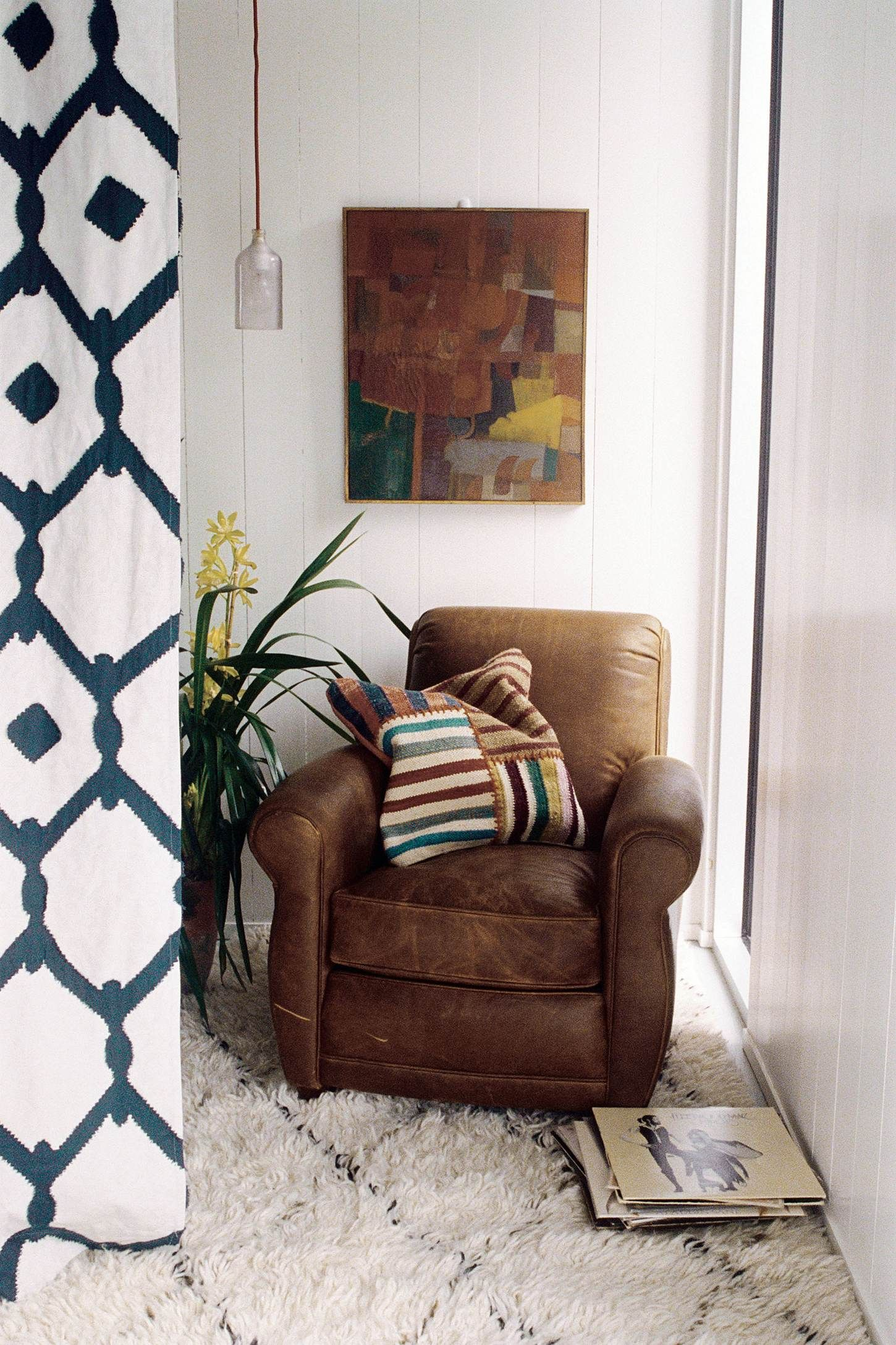 Great Reading Corner, Leather Chair With Fuzzy Rug, Mix Of Textures And  Pattern