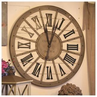Horloge gare metal bois murale style industriel 93 cm - Horloge murale style gare ...
