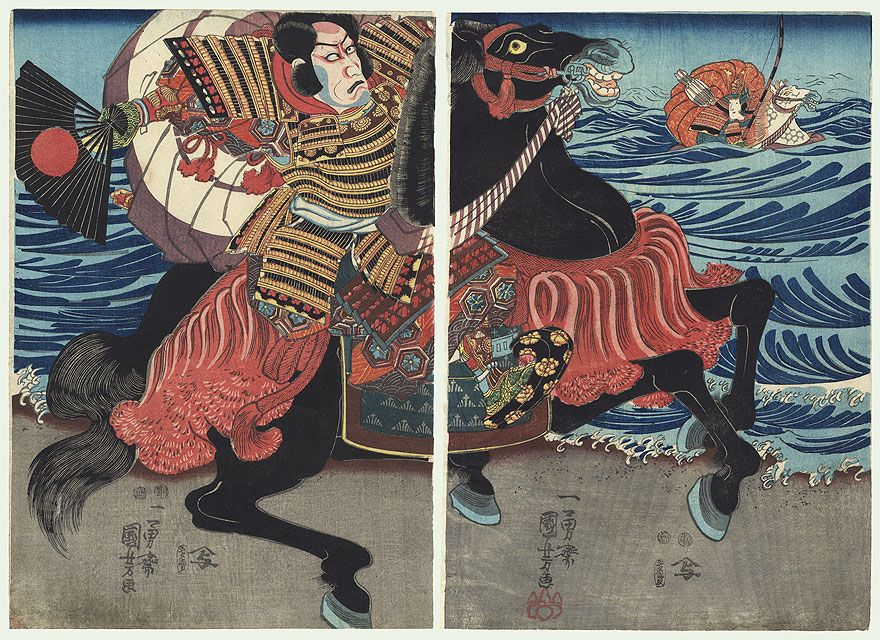 """Original Kuniyoshi (1797 - 1861).  The Battle of Ichi-no-tani, 1847 - 1850  Depiction from the Battle of Ichi-no-tani in 1184. In the foreground, the Minamoto warrior Kumagai Naozane gallops along the shore, gesturing angrily with his fan. The young Taira samurai Atsumori can be seen trying to escape through the deep water on a dappled horse, gripping a bow in his hand. In the account that appears in """"The Tale of the Heike,"""" Naozane captures the samurai, preparing to behead him, when he…"""