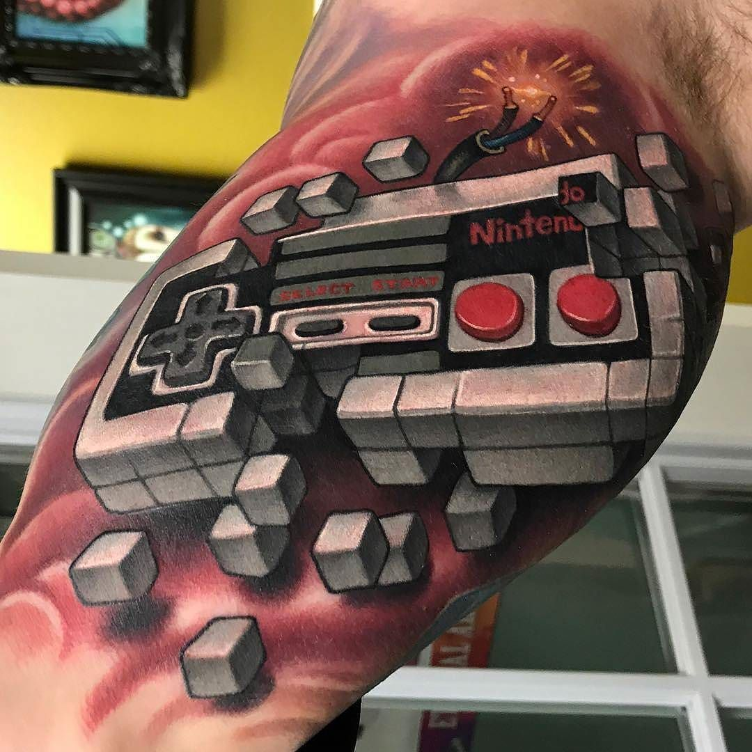 Watercolor tattoo artists in houston texas - Nintendo Controller By Aaron_springs At Red Dagger Tattoo In Houston Texas Nintendo