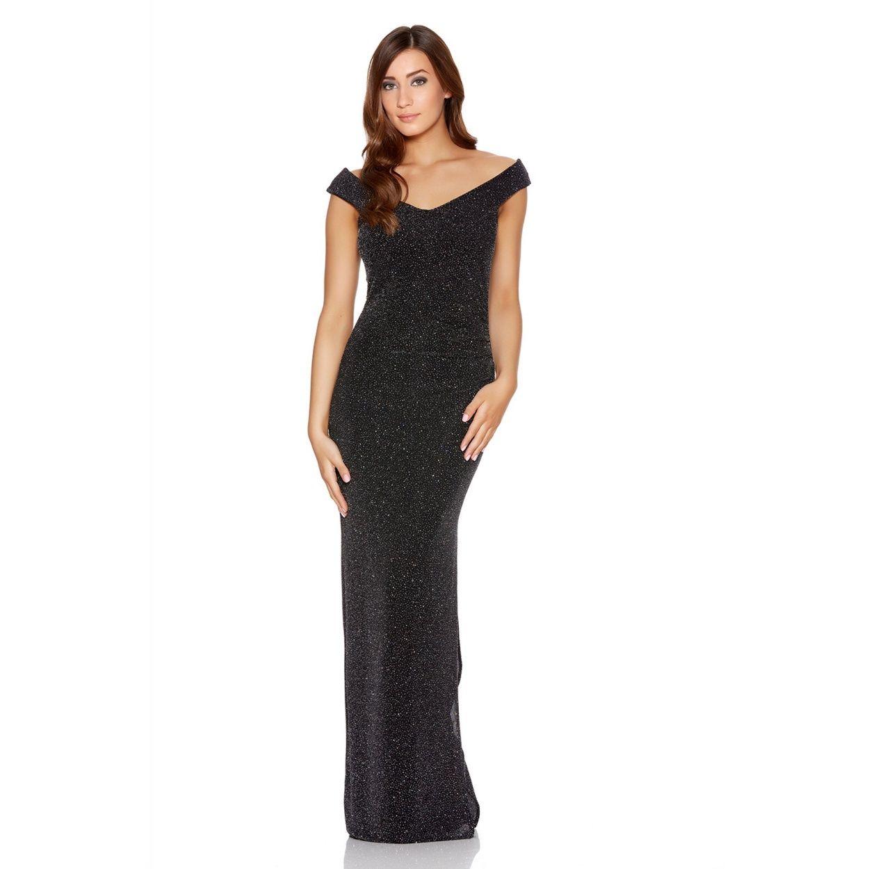Black dress debenhams - Quiz Black Brillo Side Split Bardot Maxi Dress