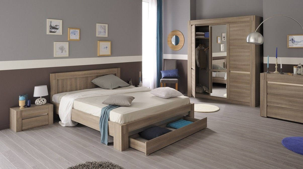 Chambre adulte en bois couleur ch ne tons clairs style for Ambiance chambre a coucher adulte