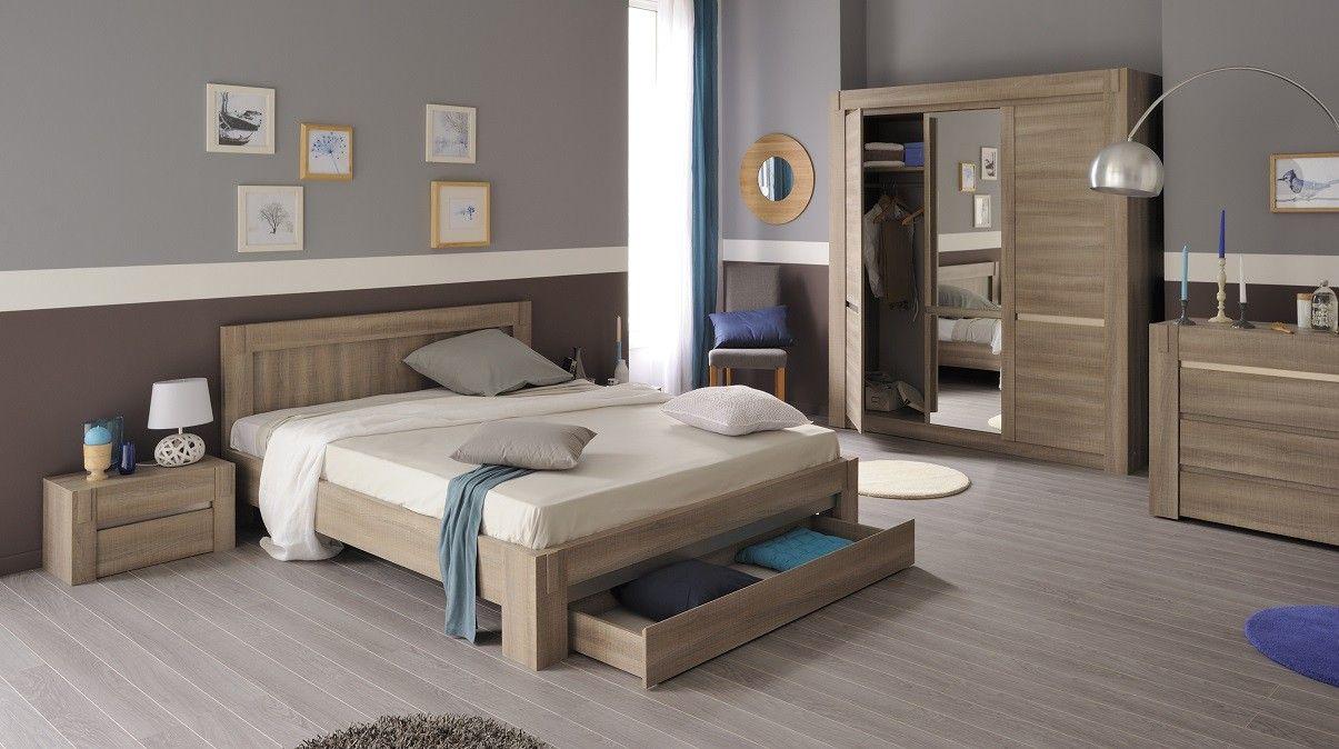 Chambre Adulte En Bois Couleur Chêne Tons Clairs Style - Canapé 3 places pour deco contemporaine chambre adulte