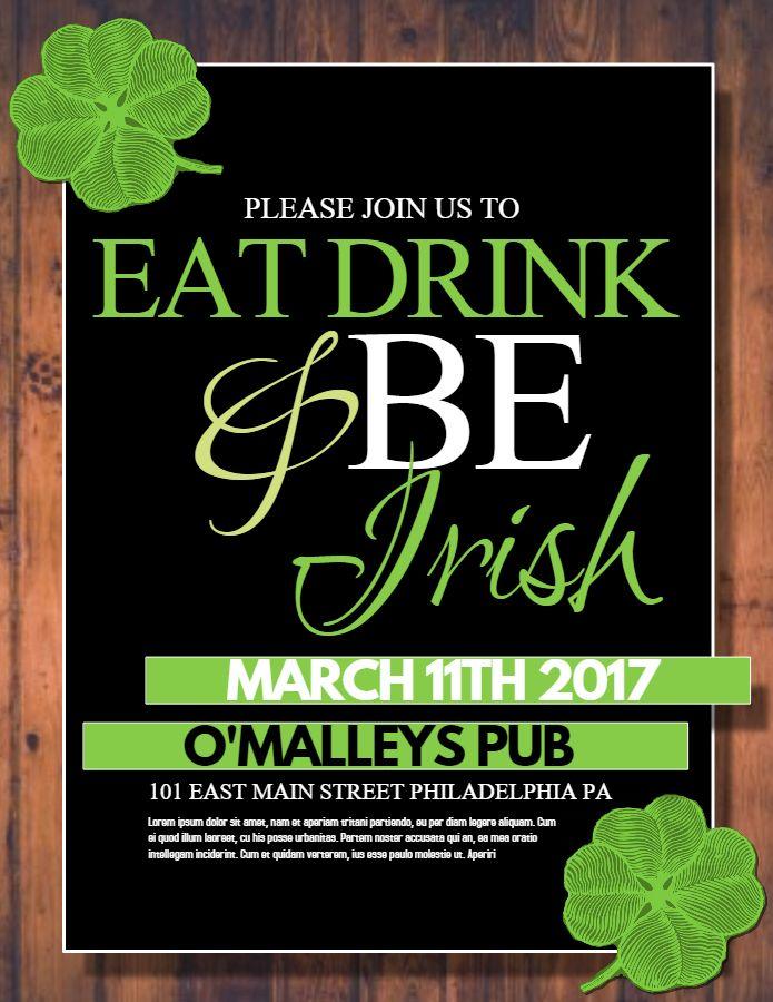 St Patrick\u0027s Day poster flyer social media graphic design template
