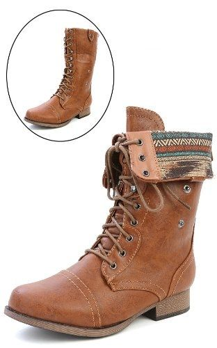Wild Diva Women Jetta-25F Lace Up Combat Military Boots With Foldable Cuff, Whisky, 7