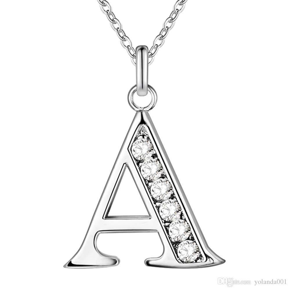 215b6df23bdc Accesorios plateados plata 26 alfabeto inglés collar creativo ...