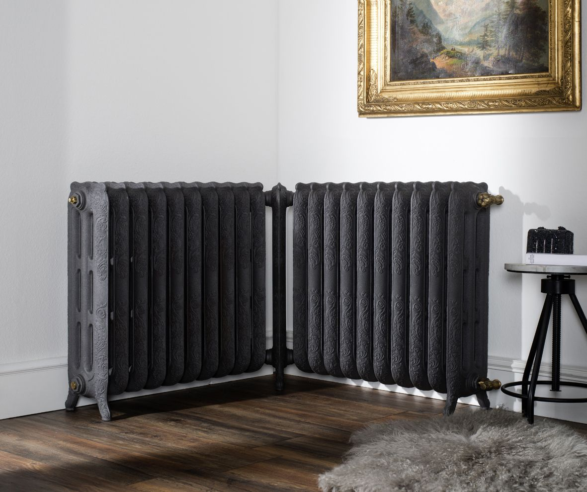 radiateur en fonte d 39 angle belle epoque couleur noir mat radiateur en fonte. Black Bedroom Furniture Sets. Home Design Ideas