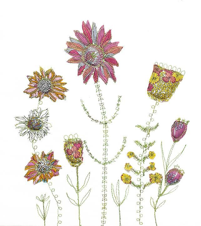 Pink and yellow flowers, appliqué and free-machine embroidery by Bev ...