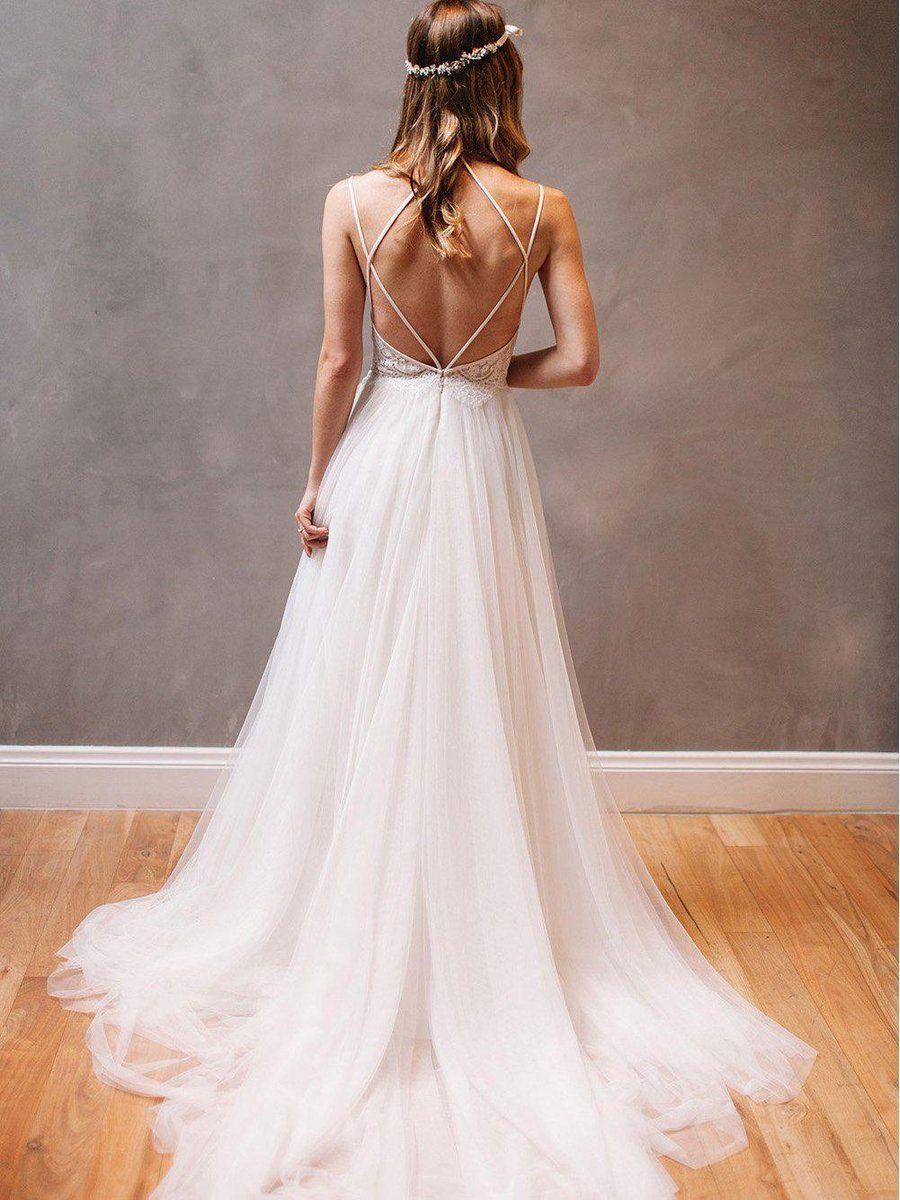 62800e888d6b Spaghetti Strap Ivory Tulle Beach Wedding Dresses Rhinestone ...