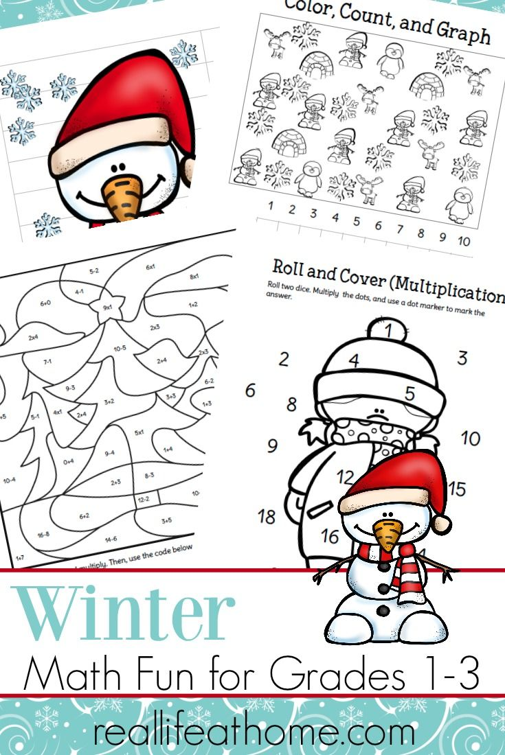 Fun Printable Packet of Winter Math Worksheets for 1st - 3rd Grade ...