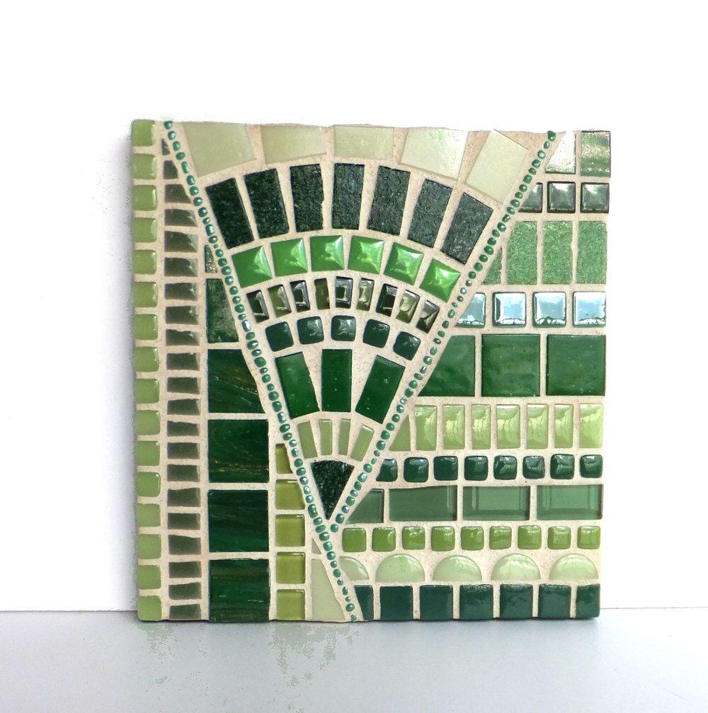 "Mosaic Art, Green 6x6"" abstract mosaic artwork, Green Home Decor by MollycatMosaics on Etsy https://www.etsy.com/listing/217148476/mosaic-art-green-6x6-abstract-mosaic"