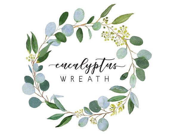 Photo of Eucalyptus wreath, watercolor illustration, wedding greenery, green wreath, wedding wreath, watercolor, clipart, wreath, wreath clipart