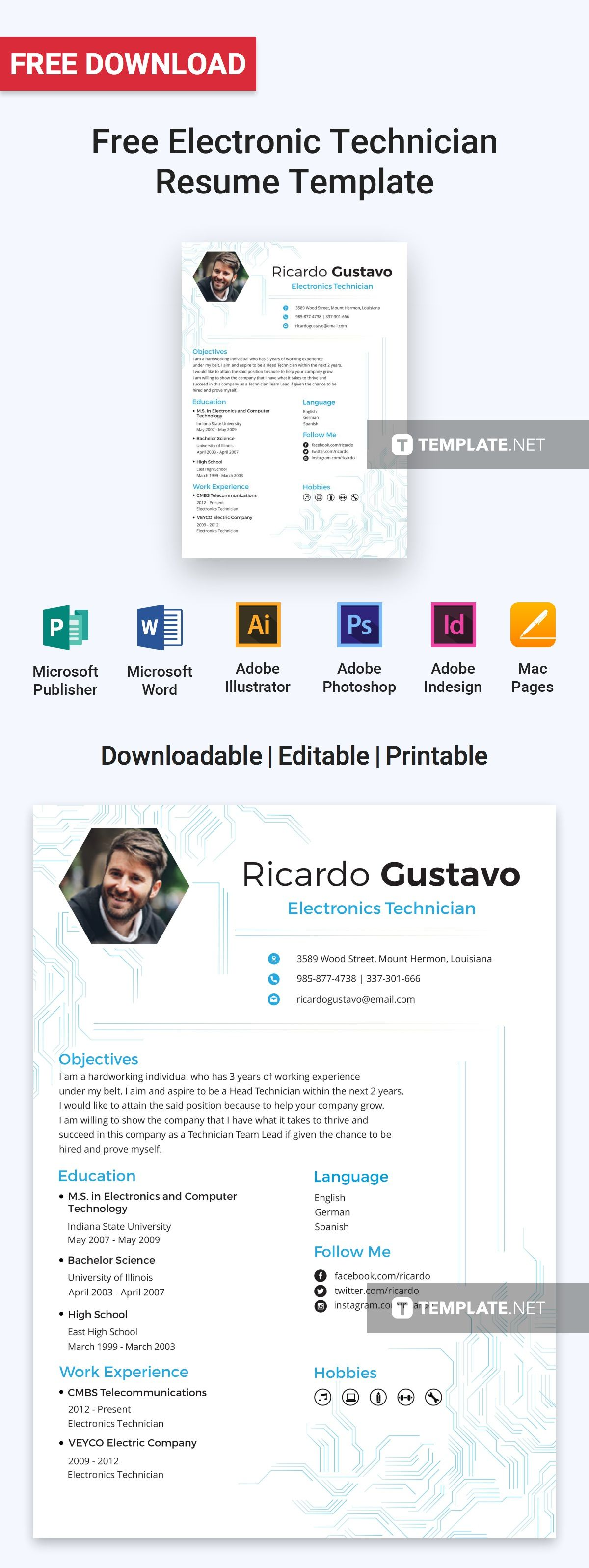 Free Electronic Technician Resume Cv Template Word Doc Psd Indesign Apple Mac Pages Illustrator Publisher Resume Design Resume Design Free Electronic Technician