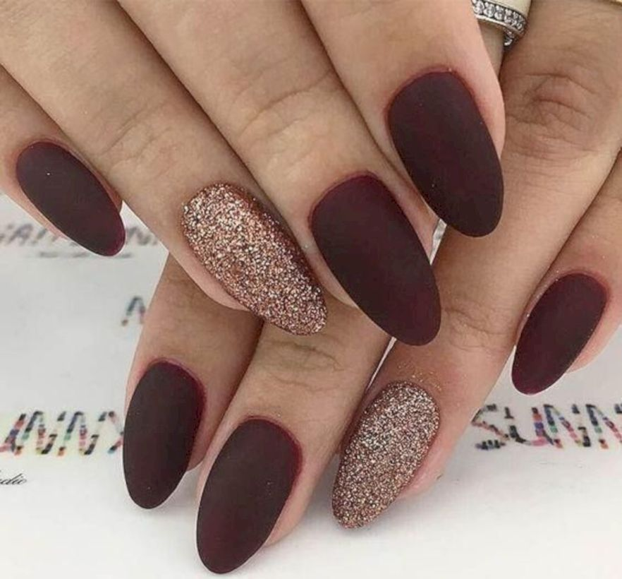 35 Most Popular Dark Red Nail Art You Will Love Attireal Com Gold Glitter Nails Simple Fall Nails Burgundy Nails
