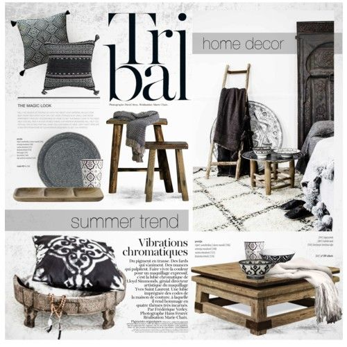 Tribal: Black & White by nyrvelli on Polyvore featuring polyvore interior interiors interior design home home decor interior decorating Rizzy Home GreenGate Nordal H&M DAY Birger et Mikkelsen Roberto Cavalli blackandwhite tribal moroccan