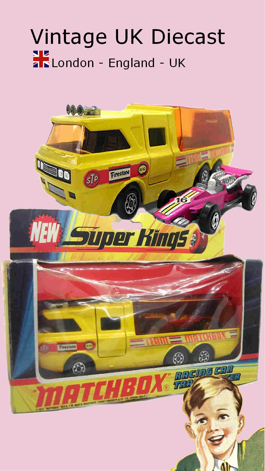 1970s Vintage Matchbox Superkings K 7 Racing Car Transporter In 2020 Matchbox Matchbox Cars Diecast