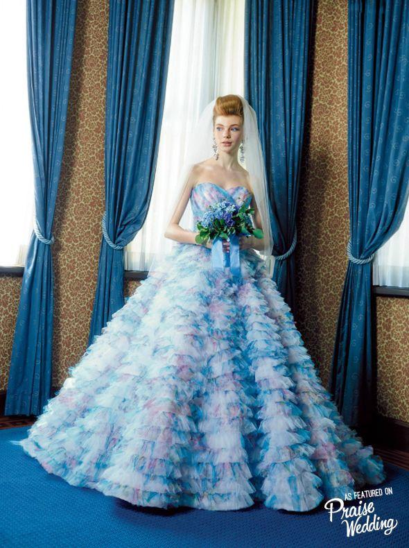 Stunning watercolor ruffle gown from M /Mika Ninagawa