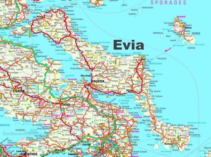 Evia road map Maps Pinterest Greece islands