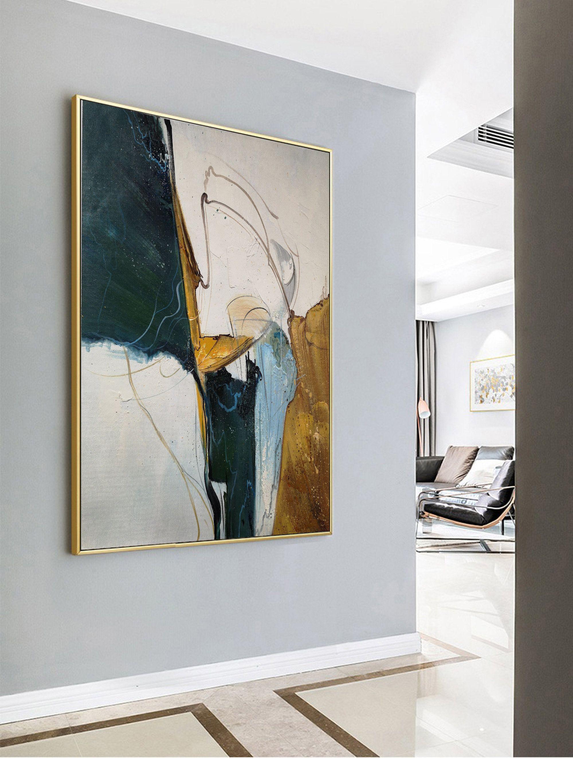 Photo of Original Abstract Painting, Minimalist Abstract Painting, Large Abstract Painting, Beige Painting Green Painting, Large Wall Canvas Painting