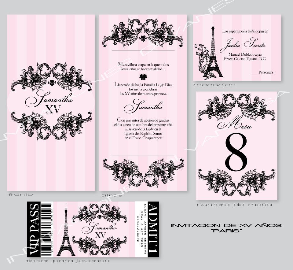 paris theme quinceanera or quince años invitation my invitations