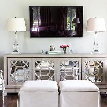 Gray Mirrored Tv Cabinet With Crystal Lamps Chic Living Room