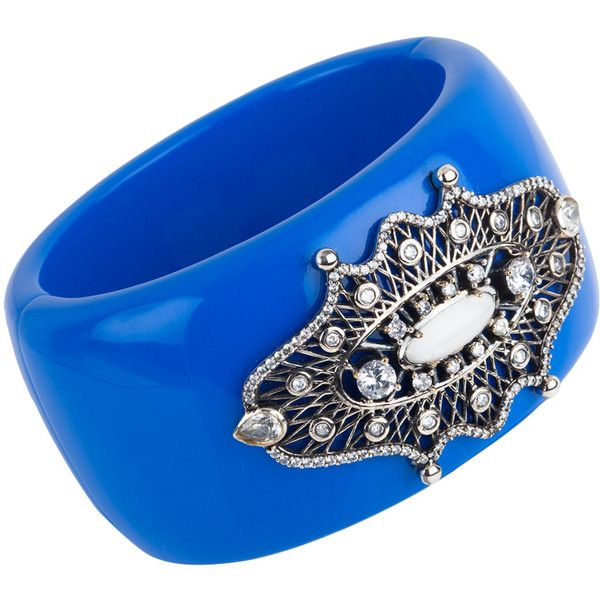 Miriam Salat Telkari Cuff Bracelet (760 RON) ❤ liked on Polyvore featuring jewelry, bracelets, blue, cuff bangle, hinged bangle, antique cuff bracelet, cuff bracelet en miriam salat