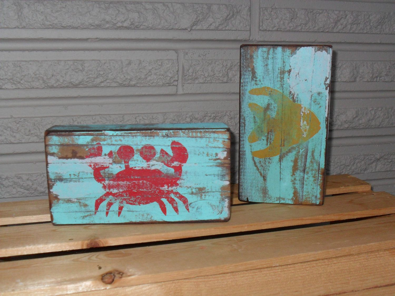 Crab and fish decorative wood blocks fish woods and craft