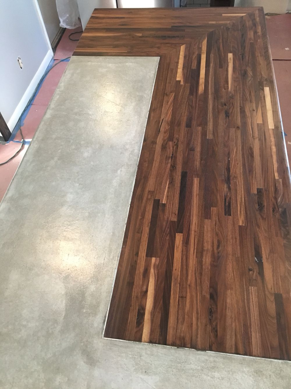 Concrete And Walnut Butcher Block Countertop For Kitchen Island