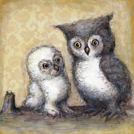 Oopsy Daisy - Two Little Hoots Canvas Wall Art 18x18, Jennifer Stables