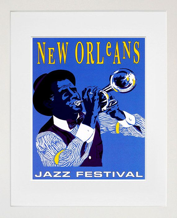 New Orleans Retro Poster Jazz Travel Art Home by Blivingstons