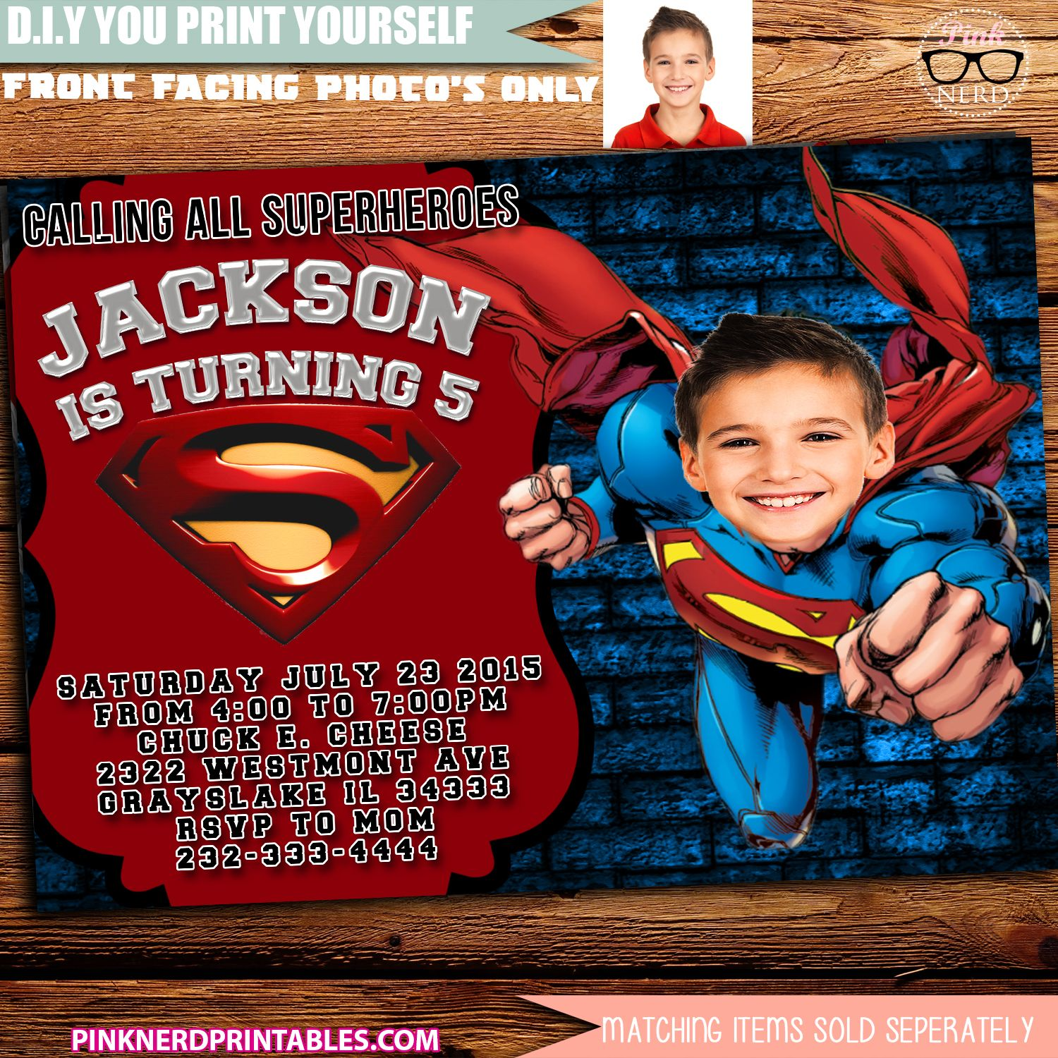 Superman Birthday invitation Cut out Superman