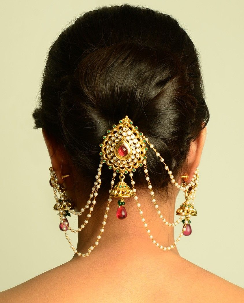 the maharani juda pin and earrings | hair brooch, hair