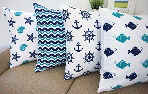 Beach Theme Howarmer Aqua Blue Decorative Throw Pillow Covers