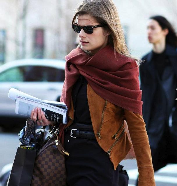 burgundy/dark red pashmina, suede biker brown jacket, black top, black high waist trousers w/ chunky black belt - work chic