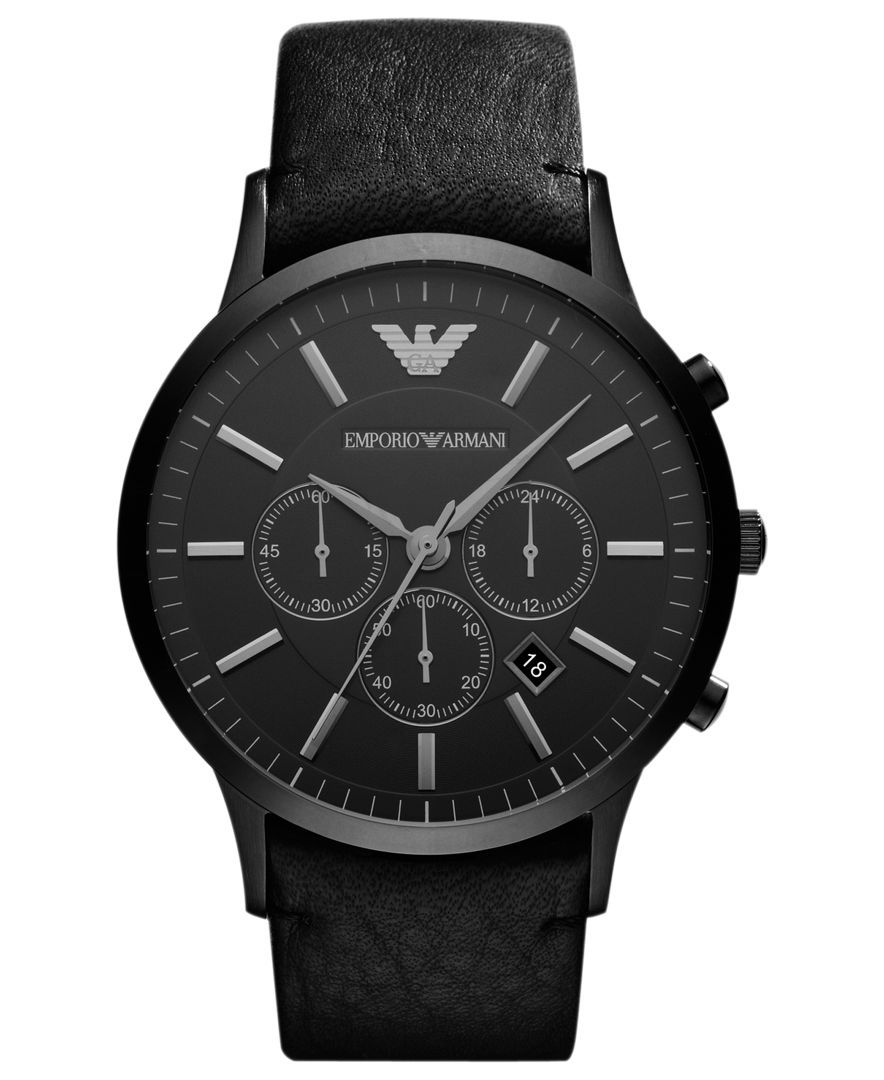 00a4aa88 Watch, Men's Chronograph Black Leather Strap 46mm AR2461 | Clothes ...