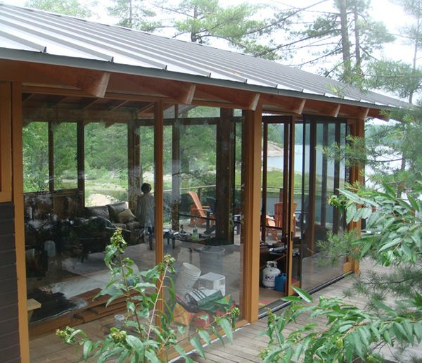 French River Cottage with Passive Solar - Swoopy Patio Roof --Big 16x18 Foot Roof Covers Back Patio --Sturdy