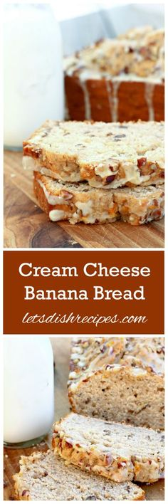 Cream Cheese Banana Nut Bread Recipe | Cream cheese makes this delicious banana quick bread even more moist and wonderful!