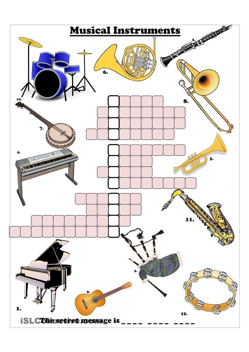 Worksheets Instrument Worksheets musical instruments crossword crosswords pinterest crossword