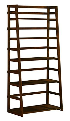 Simpli Home Acadian Collection Ladder Shelf Bookcase Rich Tobacco Brown View Larger 30 Inch Wide X 63 Inches High In