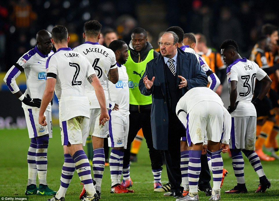 The Newcastle manager urges his team on as the Championship side head into extra time against Premier League Hull