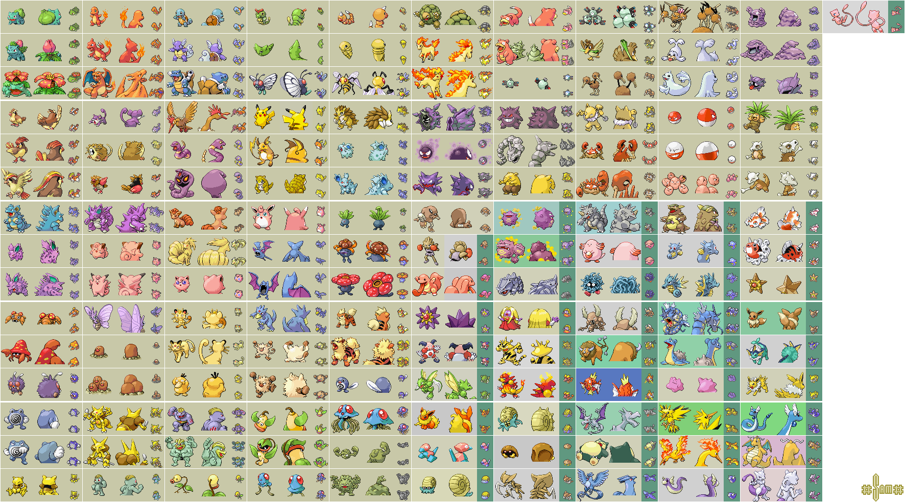 Pokemon Fire Red/Leaf Green - Kanto Pokemon Sprite Sheet