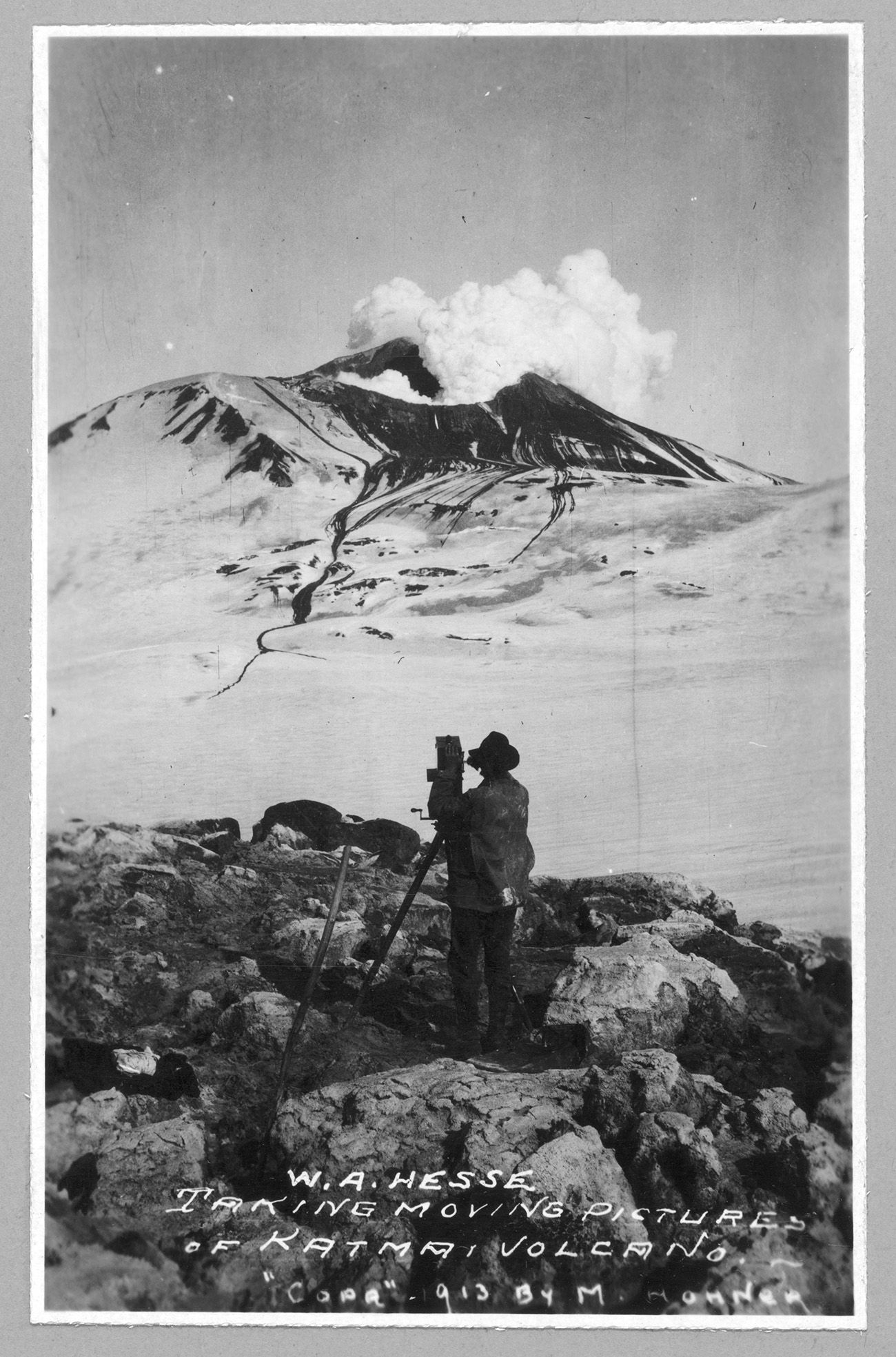 W.A. Hesse taking moving pictures of Katmai Volcano. Photo copyrighted 1913 by M. Horner. //hdl.loc.gov/loc.pnp/ppmsc.01940