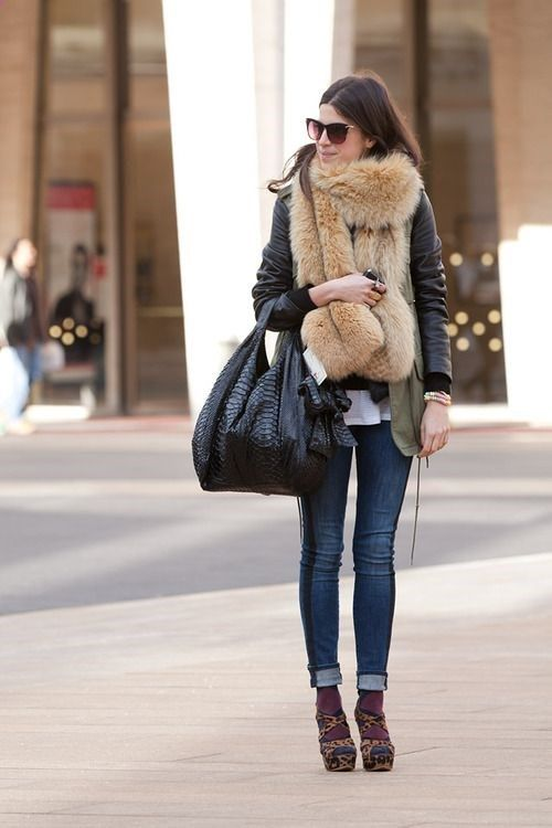 Wear your open toe shoes with socks in the fall! And wrap that fur around your neck! Luv this eccentric look :)